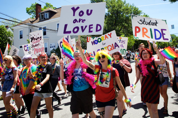 PORTLAND, MAINE -- 06/20/15 -- Students march in the Pride Portland parade in Portland on Saturday. The parade and festival in Deering Oaks Park capped off a ten-day celebration of Maine's LGBTQIA community. Troy R. Bennett | BDN