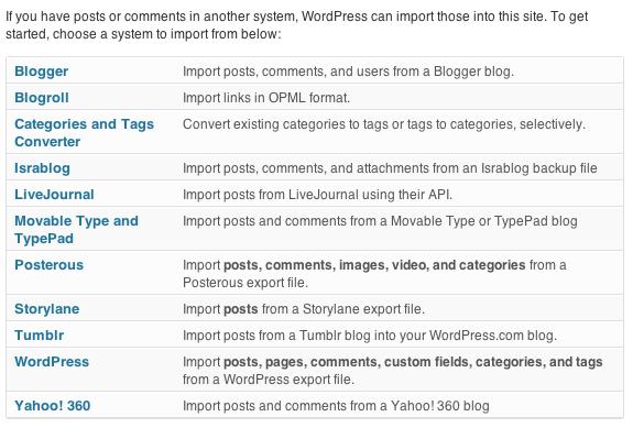 WP Import Types
